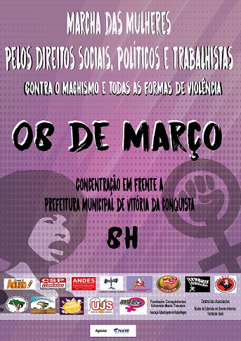 08 de março: Adusb convoca população para Marcha de Mulheres