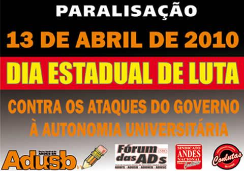Boletim Eletrônico da Adusb - 11 de abril de 2010.