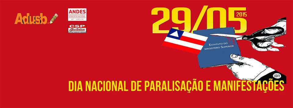 29 de maio: Dia Nacional de Paralisação