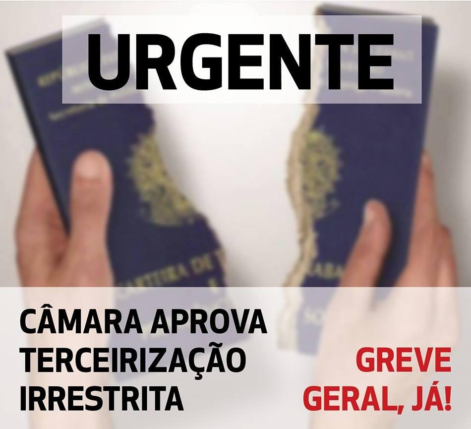 Câmara de deputados corruptos libera terceirizações e acaba com regulamentação do trabalho no Brasil