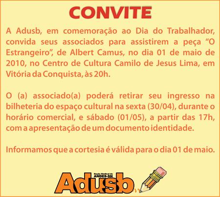 """Adusb Convida: """"O Estrangeiro"""""""