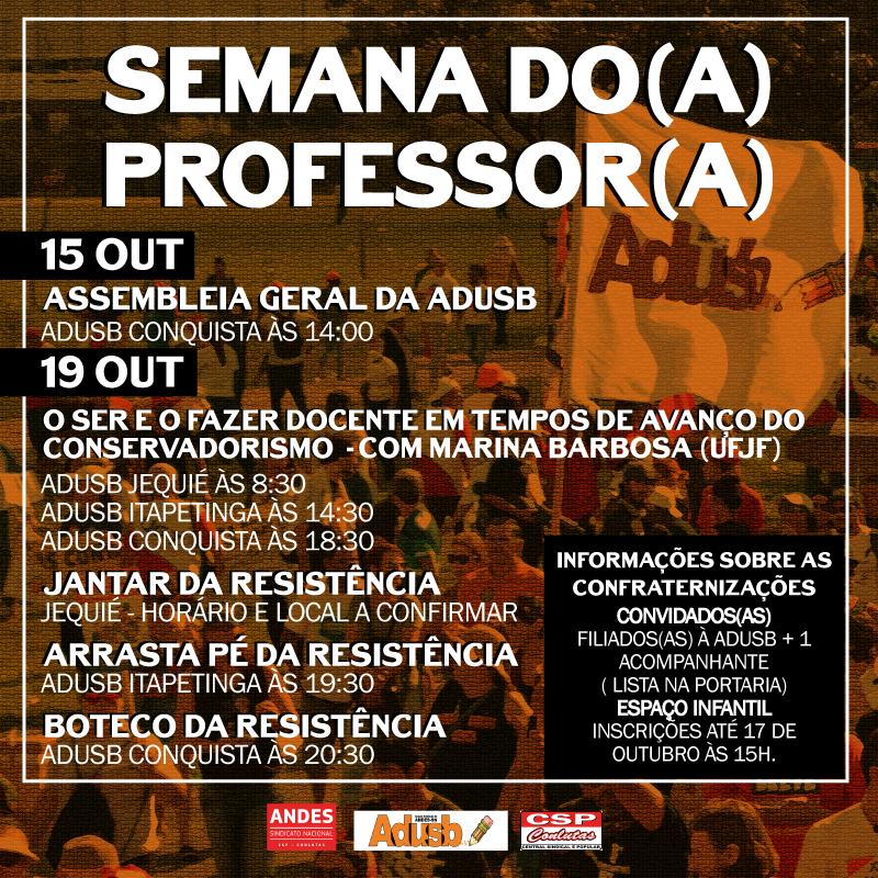 Participe da programação da Semana do(a) Professor(a)