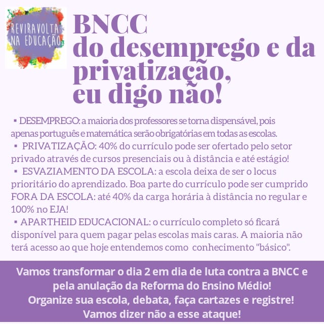 Professores convocam dia de luta em 2/8 contra BNCC que representa desemprego e privatização
