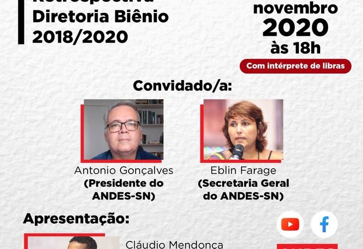 Live-Entrevista: Retrospectiva da Diretoria do ANDES-SN Biênio 2018-2020