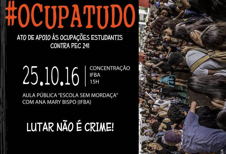 Participe do ato contra a PEC 241 e fortaleça as ocupações nessa terça-feira (25)