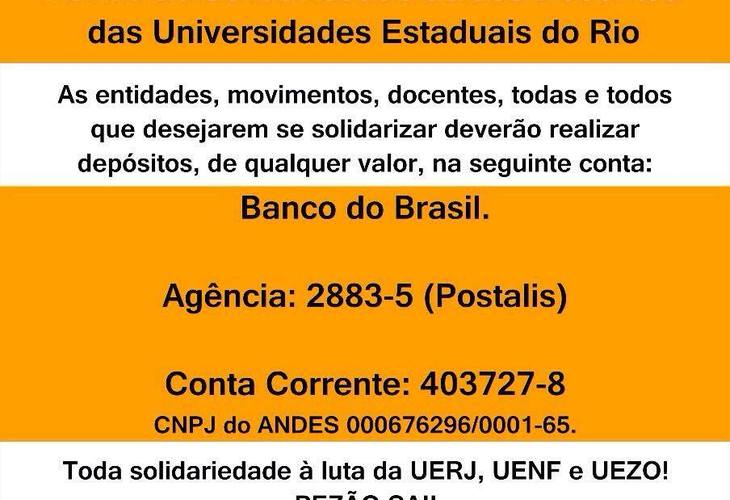 ANDES-SN cria campanha de solidariedade aos docentes das Estaduais do Rio