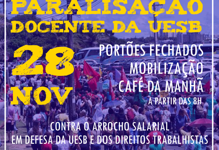 Professores da Uesb paralisam atividades no dia 28 de novembro em protesto contra o arrocho salarial