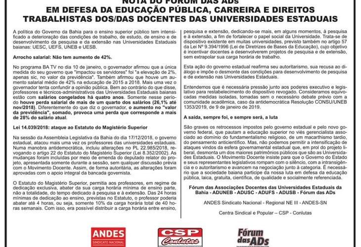 FÓRUM DAS ADS PUBLICA NOTA NO CORREIO DA BAHIA
