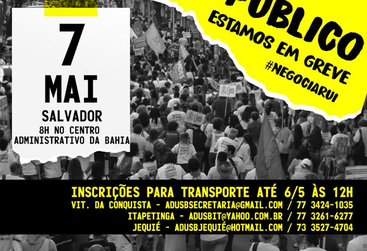 Professores em greve farão ato público no Centro Administrativo da Bahia na terça-feira (7)