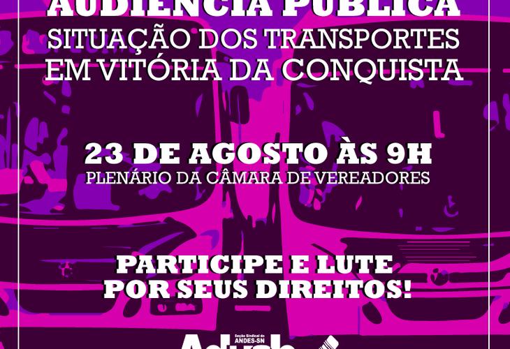 Audiência pública discutirá o transporte coletivo em Vitória da Conquista