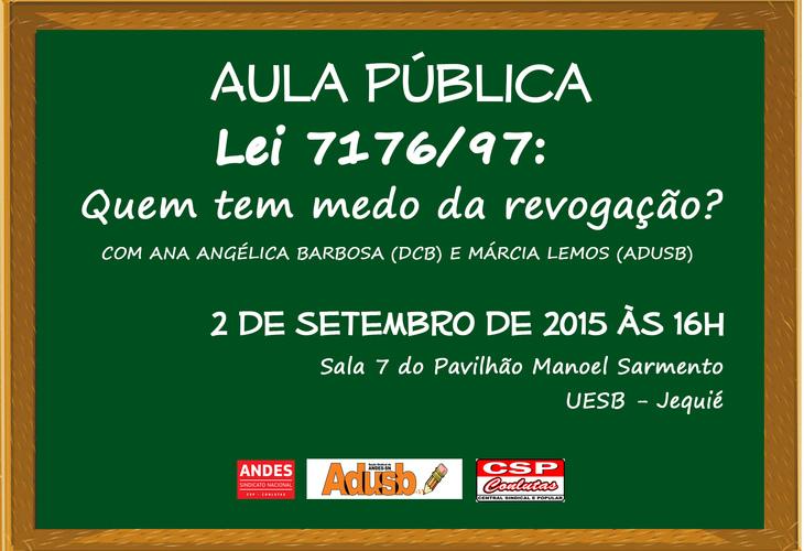 Adusb promove aula pública sobre a revogação da lei 7176/97 em Jequié