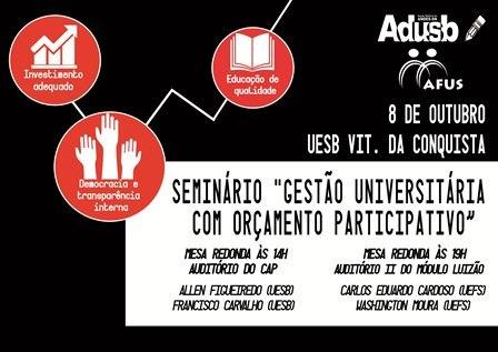 """Seminário """"Gestão Universitária com orçamento participativo"""" acontece dia 8 de outubro"""
