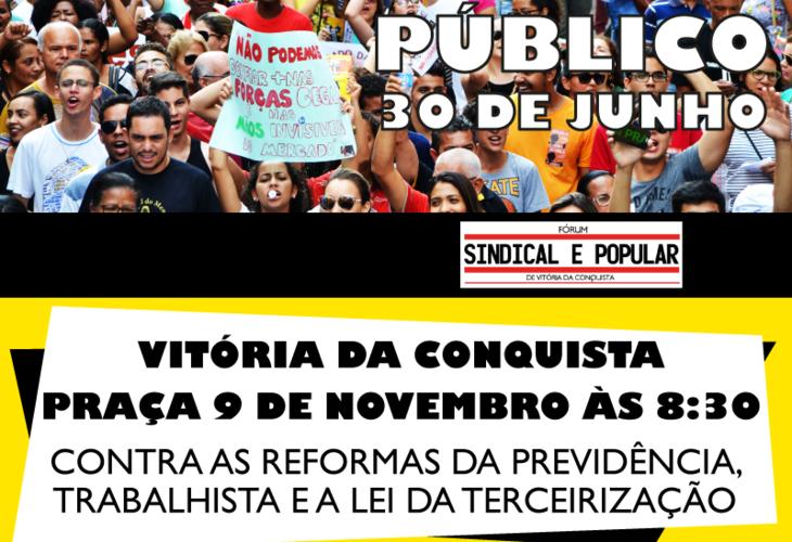 Greve geral: Ato público acontecerá em Conquista na sexta-feira (30)