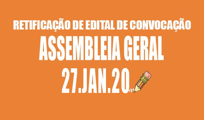 RETIFICAÇÃO DE EDITAL DE CONVOCAÇÃO DE ASSEMBLEIA DA ADUSB - 27 DE JANEIRO DE 2019