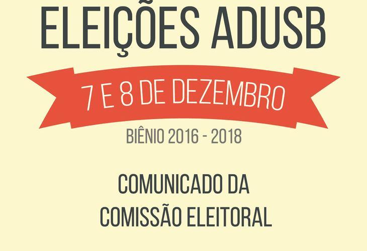 Eleições da Adusb: Comissão Eleitoral decide manter datas do edital de convocação