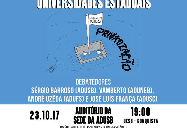 Debate sobre o desmonte das Universidades Estaduais acontece na segunda-feira (23)