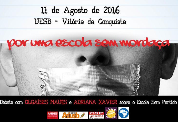 Adusb e DCE promoverão debate sobre Escola Sem Partido no dia 11 de agosto