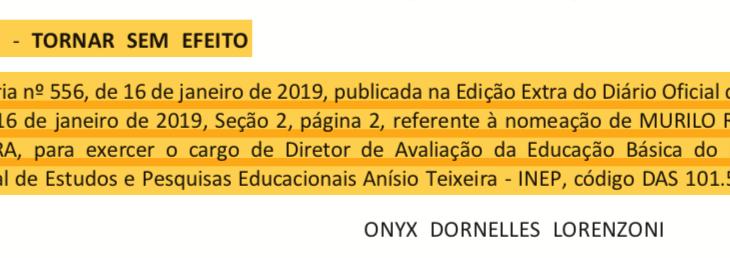 Governo Bolsonaro recua em indicação de Murilo Resende para o INEP