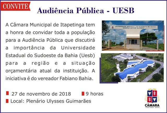 Audiência Pública em Itapetinga discutirá a Uesb na terça-feira (27)