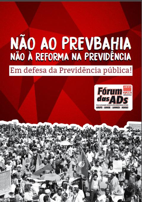 """Fórum das ADs lança cartilha """"Não à Reforma na Previdência e ao Prevbahia!"""""""