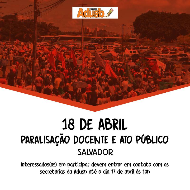 Professores da UESB paralisam atividades e realizam ato público no dia 18 de abril