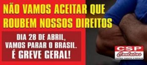 Não vamos aceitar ataques aos direitos trabalhistas. Vamos ocupar Brasília. Vamos parar o Brasil!