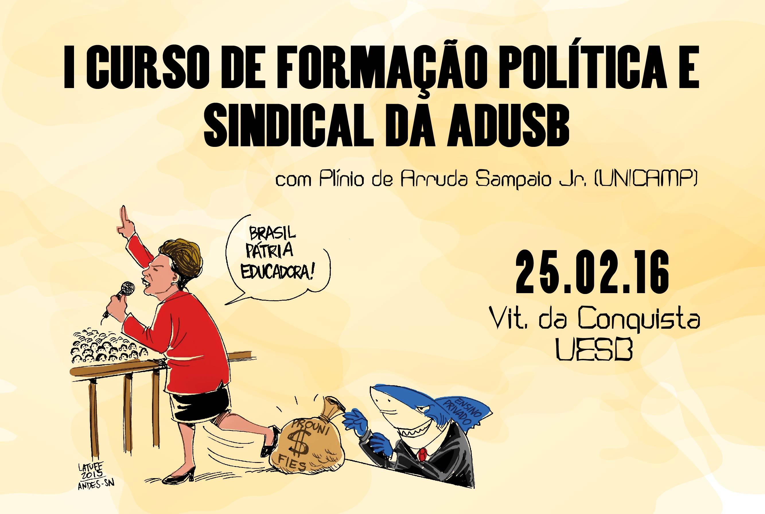 Adusb realiza o I Curso de Formação Política e Sindical no dia 25 de fevereiro