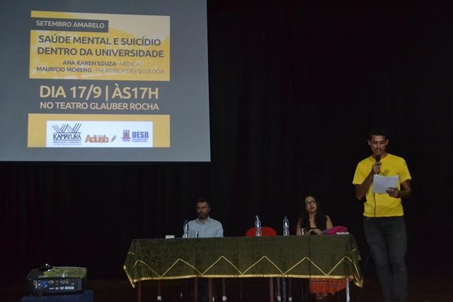 Saúde mental e suicídio na universidade foram discutidos em palestra na Uesb