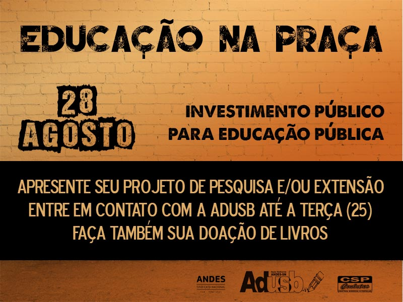 """Doe livros e exponha seu projeto no ato público """"Educação na Praça"""""""