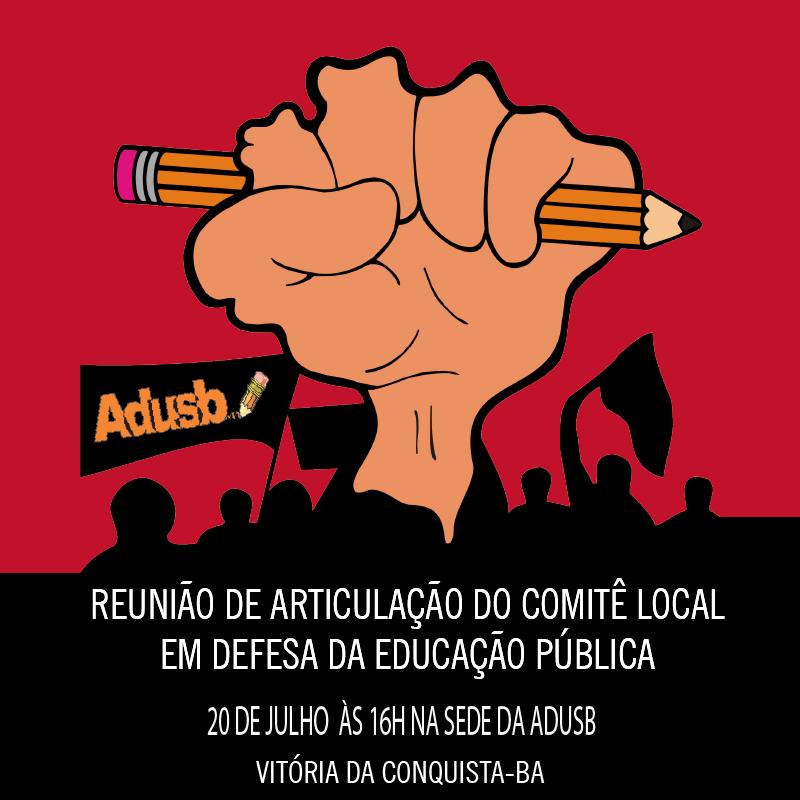 Adusb convida entidades de Vitória Da Conquista para reunião de articulação do Comitê Local em Defesa da Educação Pública