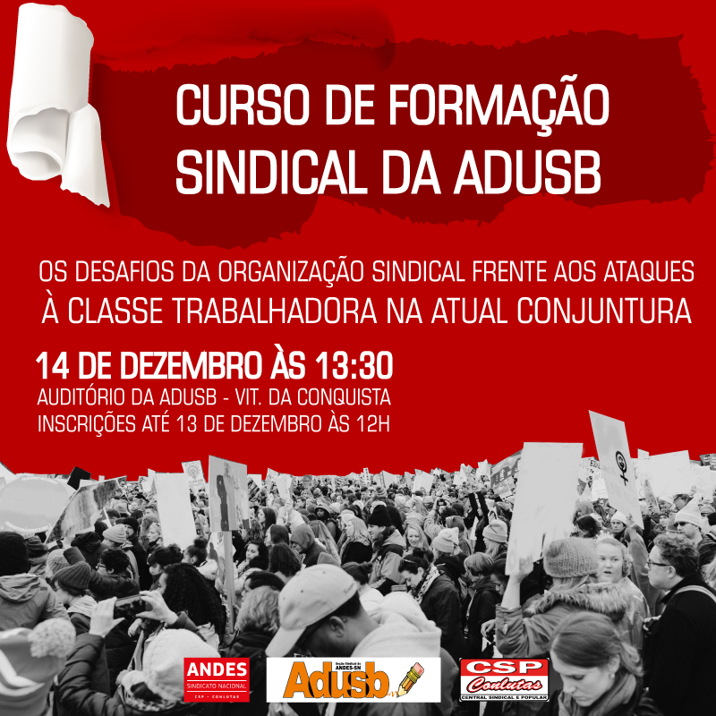 Curso de formação sindical da Adusb acontece na sexta-feira (14)