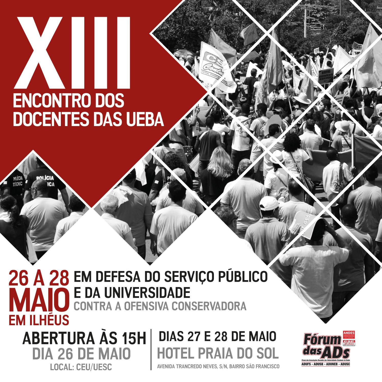 Encontro das UEBA debate serviço público e universidade de 26 a 28 de maio