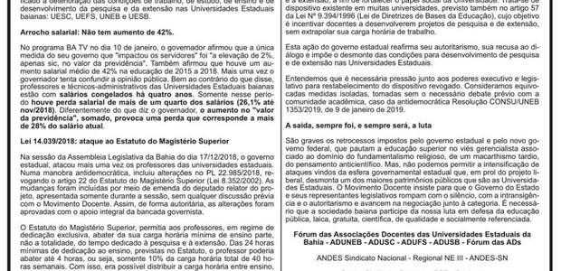 Diante das declarações e ações do governador Rui Costa (PT) contra os funcionários públicos e as Universidades Estaduais, o Fórum das ADs publicou uma nota no último domingo, dia 13 de janeiro. Confira a nota na íntegra.